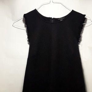 Ann Taylor Fringe Trim Tweed Shift Dress